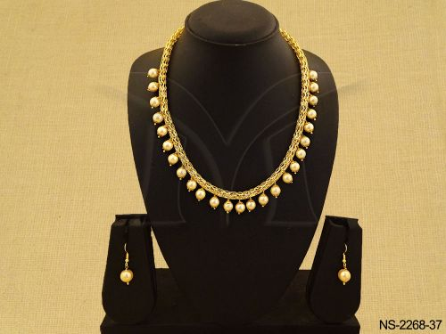Drop Pearls Moti Antique Necklace With Drop Earrings