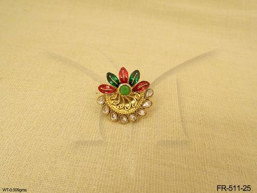 Flower and Leaf Polki Stones Enamel Colored Adjustable Rings