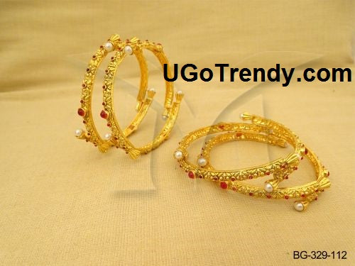 Gold Plated Bangles with red cubic zirconia stones and white bead pearls