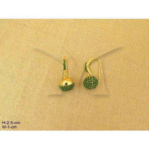 Ball Hook Earrings with Green crystals