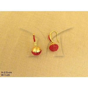 Ball Hook Earrings with red crystals