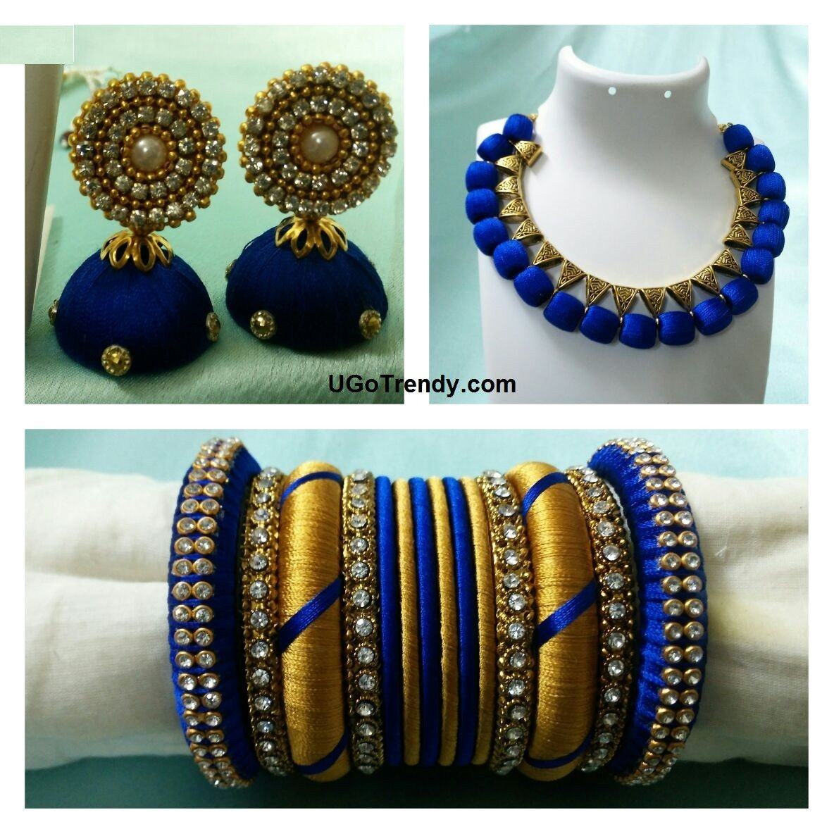 Handmade Silk thread  Necklace with matching Jhumka earrings and bangles set