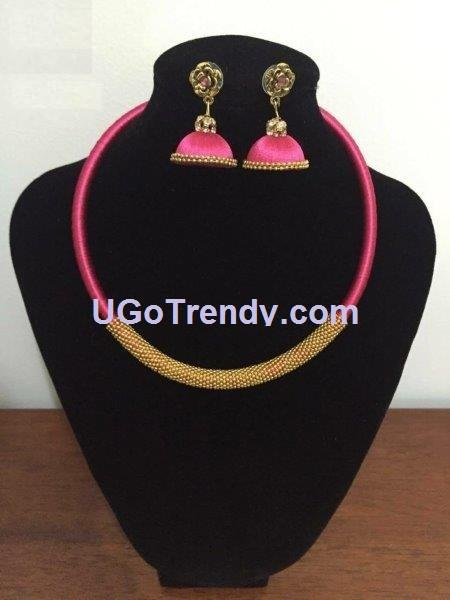 Beautiful Silk thread and Gold tone Necklace with matching Jhumka