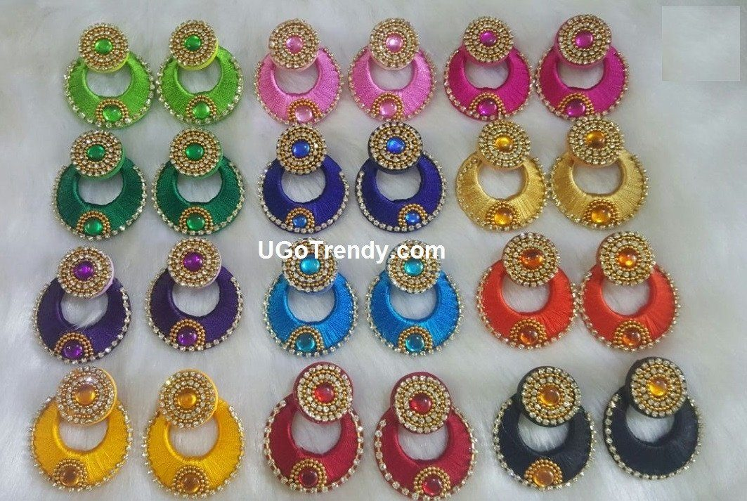 Beautiful Silk thread Chandbali Earrings decorated with Rhinestones