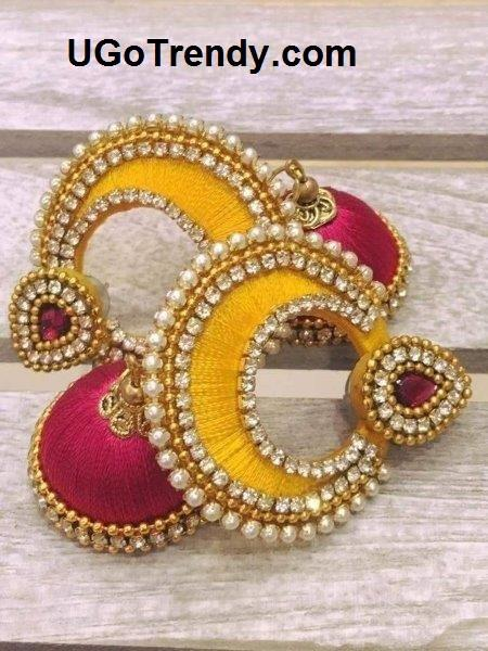 Beautiful Silk thread Double color Chandbali Earrings with Jhumka decorated with Rhinestones and golden beads