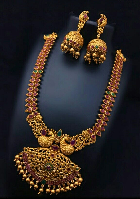 Matte Finish Necklace set with Kemp Stones, Jhumka - Traditional Peacock Design