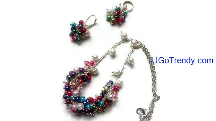 Handmade Multi Color Glass Pearl Necklace with Matching earrings