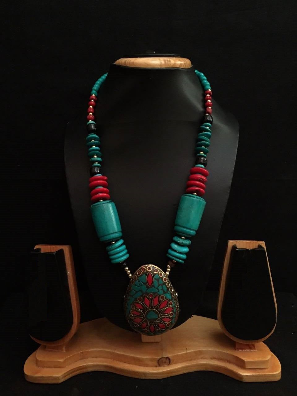Handmade Beautiful Nepalian Beads Coral Stones Necklace with  German Silver Pendant Decorated with Coral Turquoise Stones