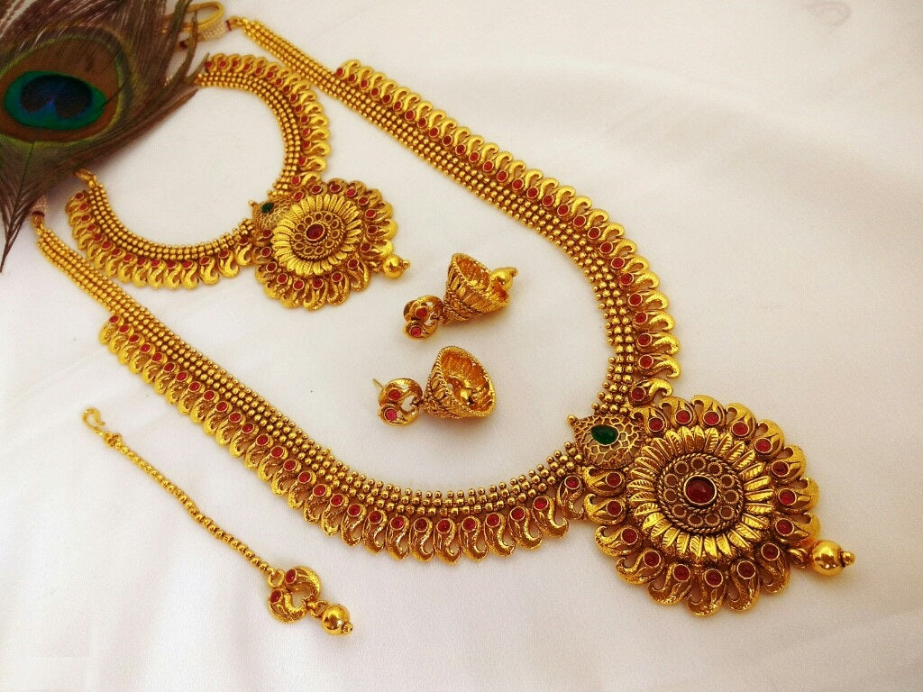 Semi Bridal set - Long necklace / aaram with short necklace, jhumka and maang tikka