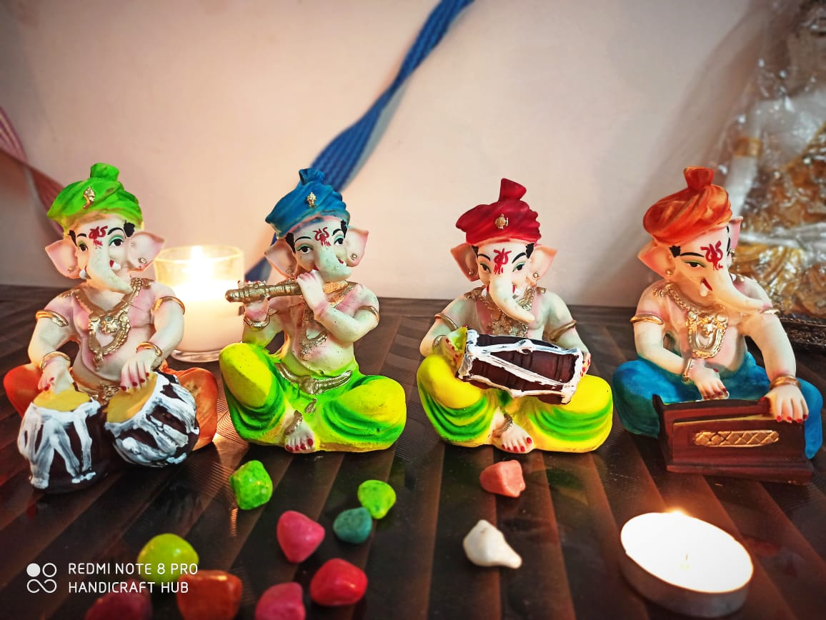 Colorful Musical Ganesh Ganpati with Instruments and Turban 4 Pcs Set