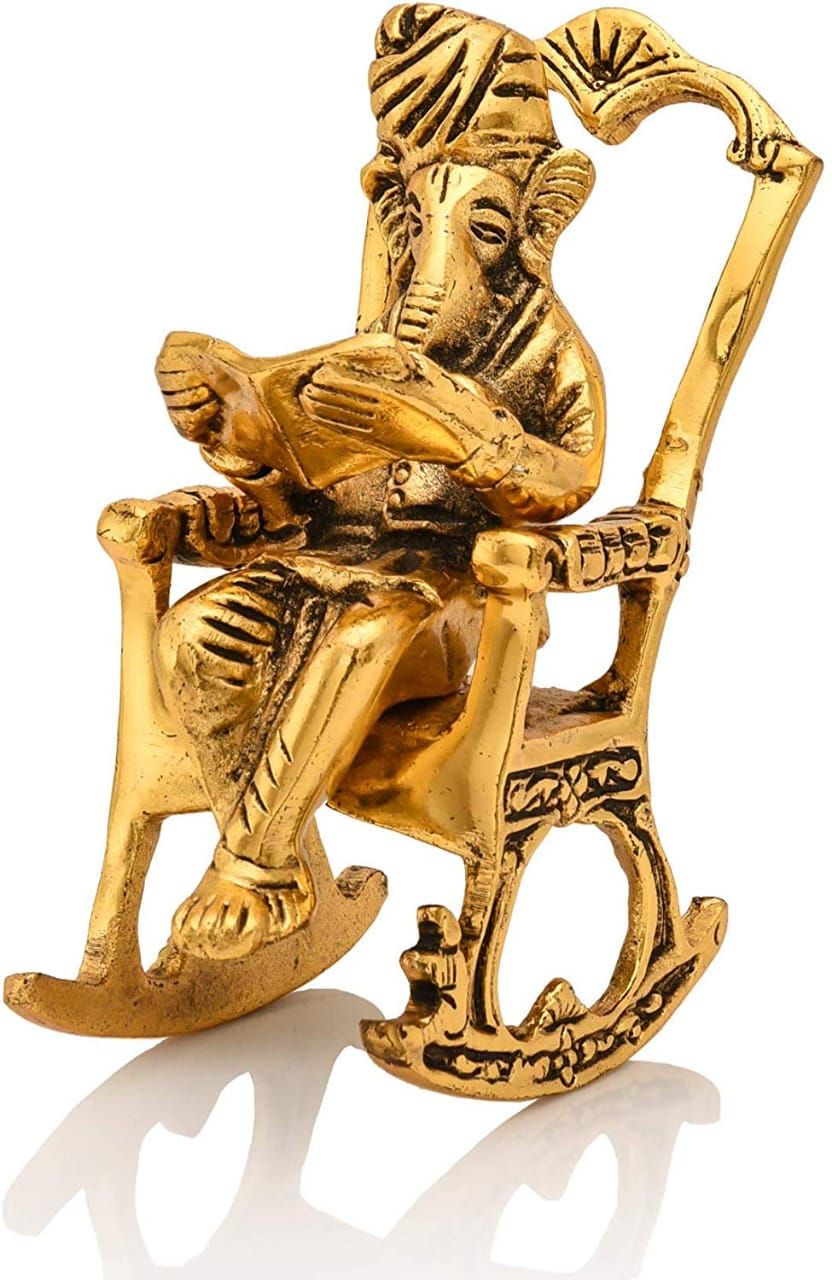 Ganesh Ganpati Reading Ramayana Sitting On Rocking Chair