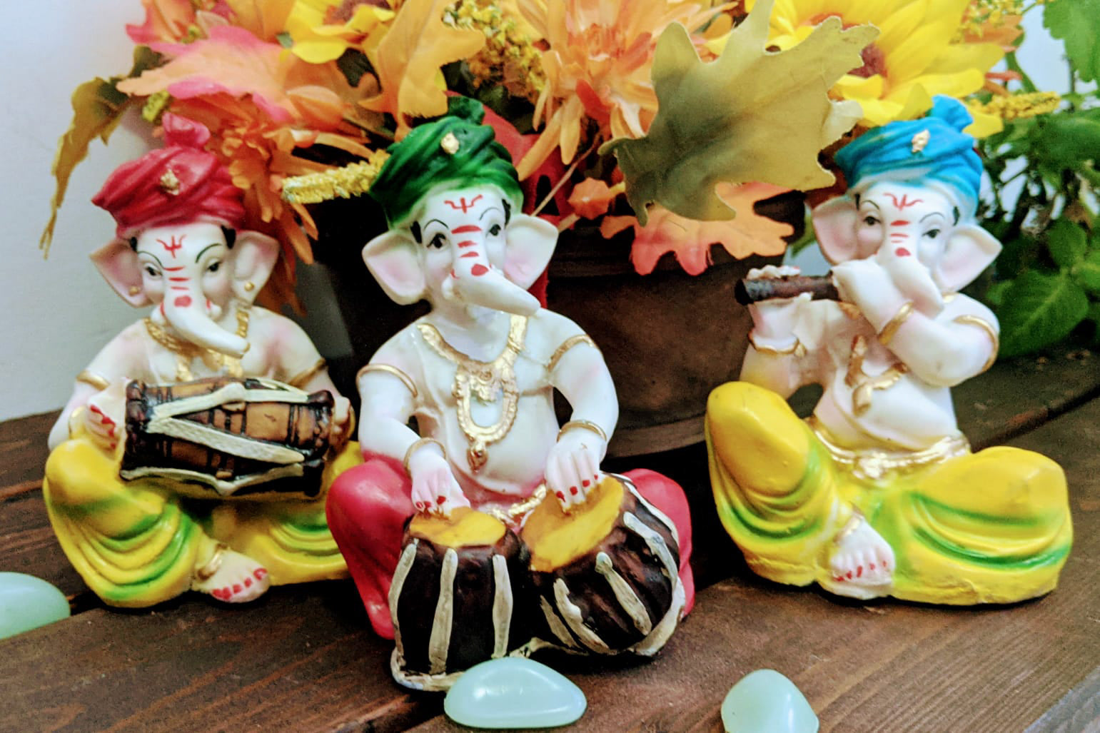 Colorful Musical Ganesh Ganpati with Instruments and Turban 3 Pcs Set