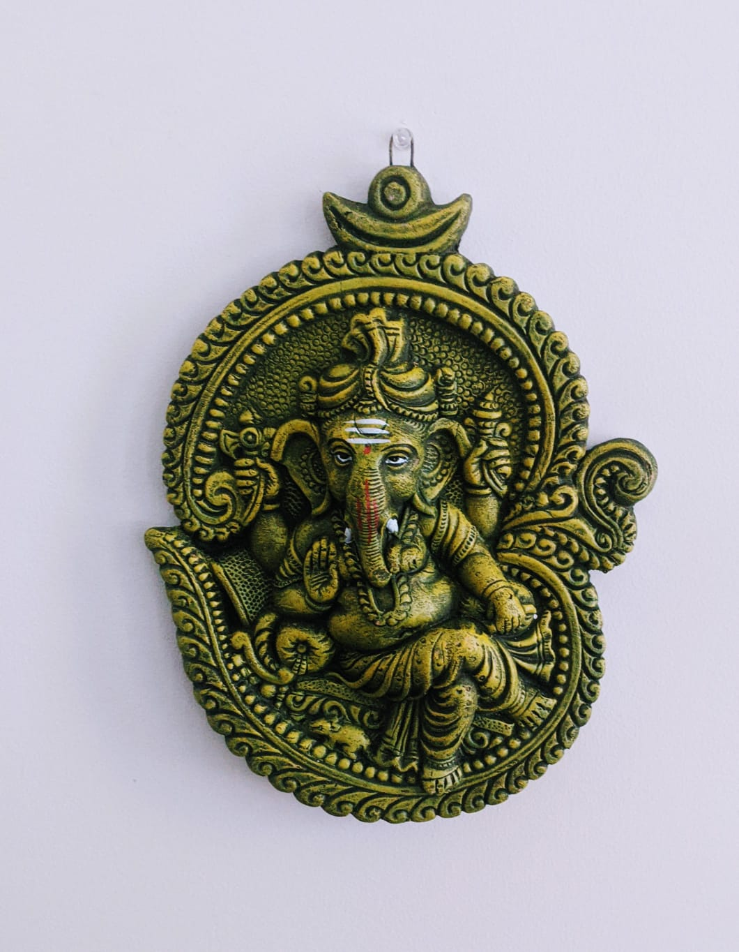 Cross Legged Ganesha Ganpati Om Shaped Wall Hanging Greenish Grey