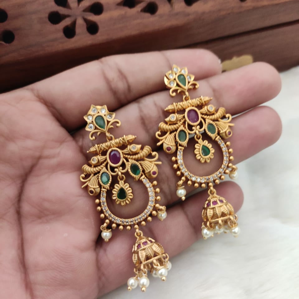 Matt Finish Chandbali Earrings with Jhumka