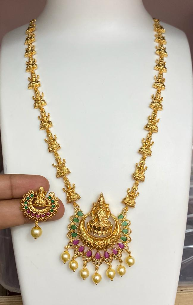 Designer Lakshmi Pendant Temple Jewelry with Chandbali Earrings