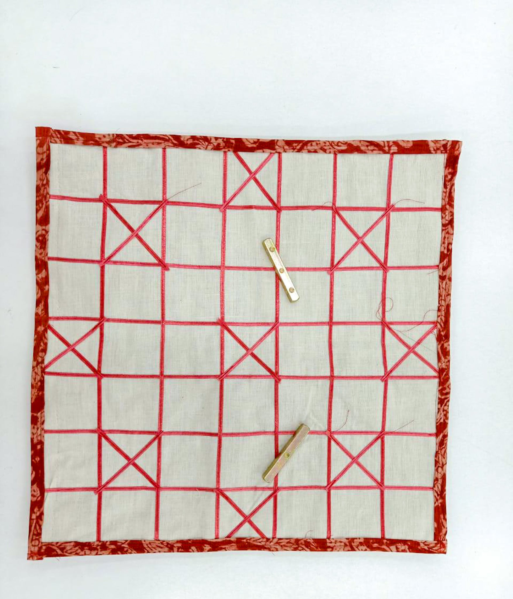 Dhayam / Chausar / Pachisi Cloth Game Board With Brass Thayakkattai and Wooden Coins