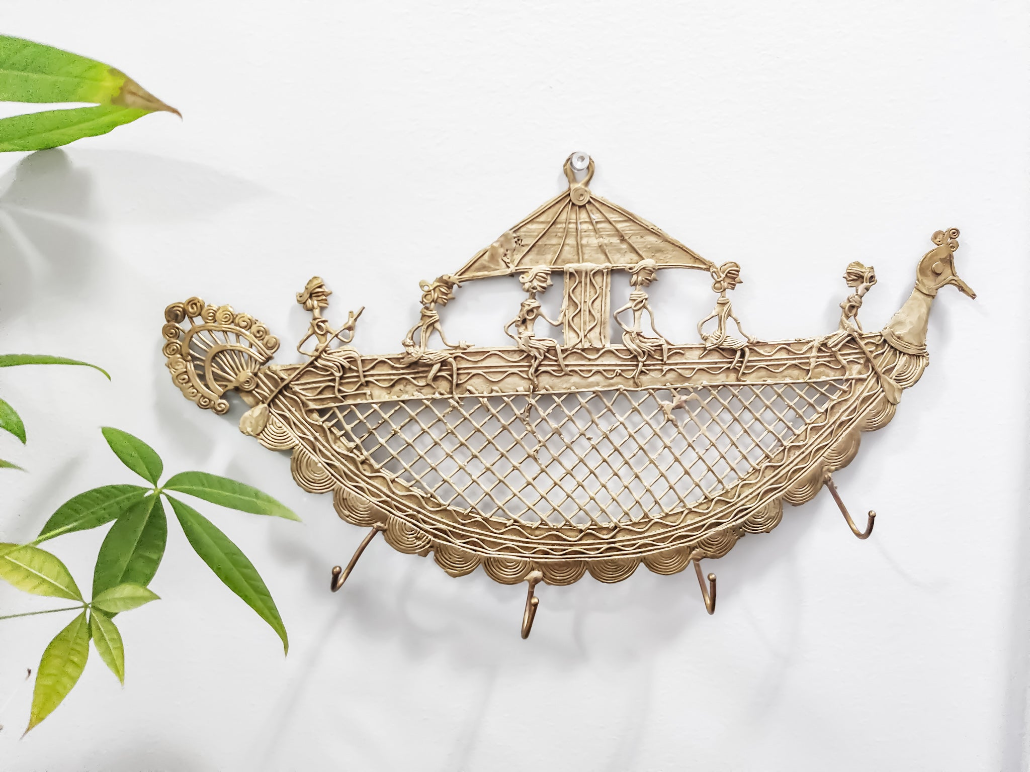 Brass Dokra Boat With Men Key Holder