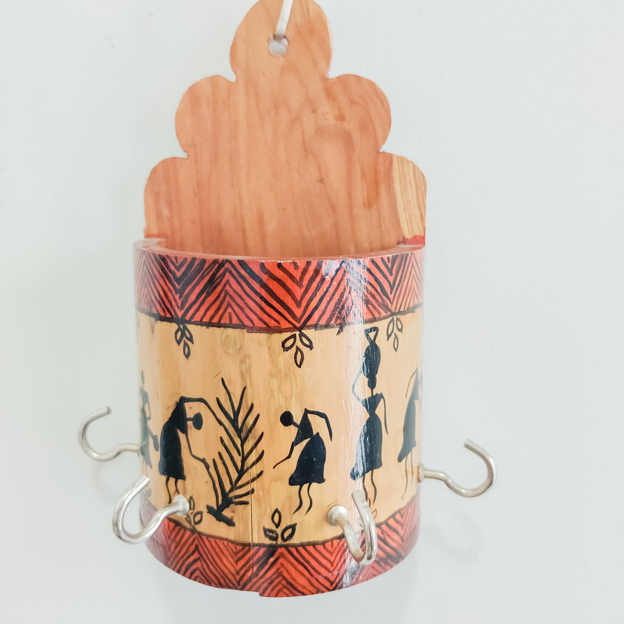 Bamboo Handpainted Worli Painting Key Holder / Stand Indian Tribal Art