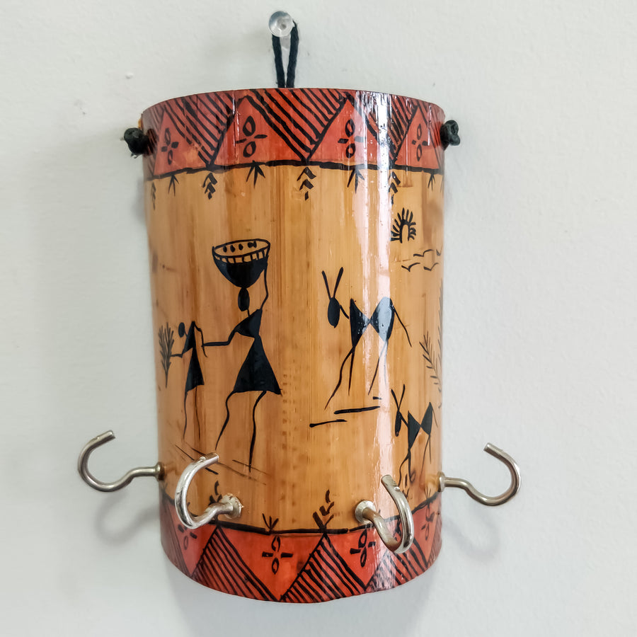 Handmade Bamboo Warli Painting Tribal Indian Art Key Holder