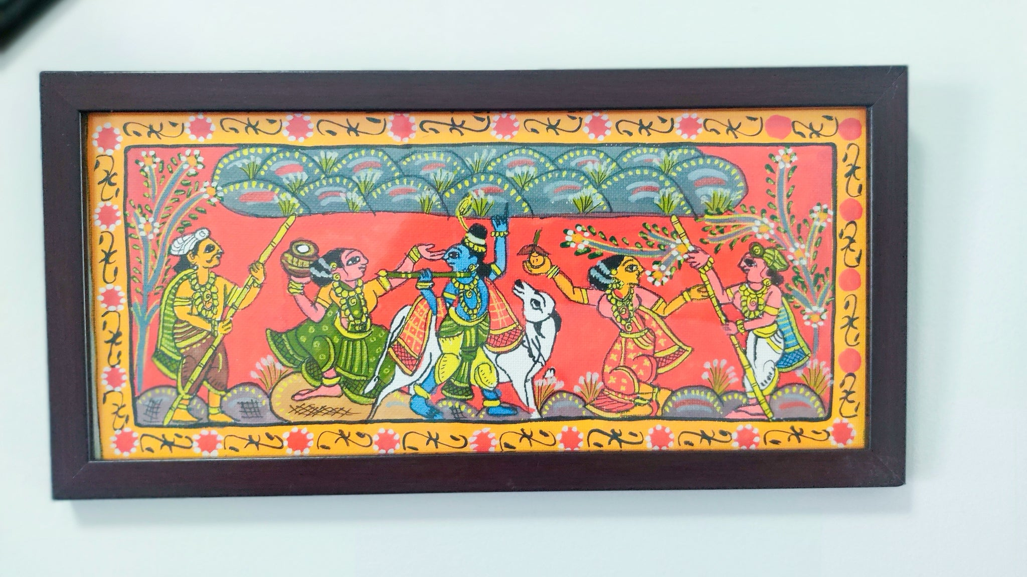 Govardhangiri Krishna In Village Framed Madhubani Painting Art