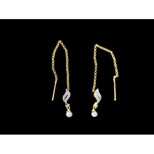 18K Gold Plated Thread Earrings With CZ Stones