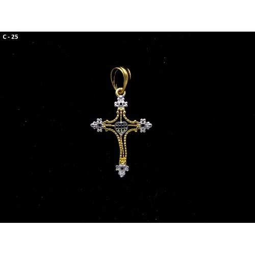 18K Gold Plated Cross Pendant With White CZ Stones