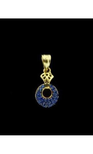 18K Gold Plated Pendant Set with Blue CZ Stones Unique Design