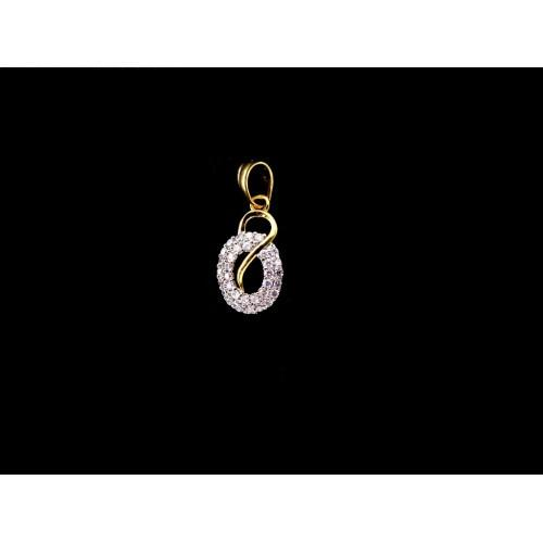 18K Gold Plated Oval Shaped Pendant With White CZ Stones