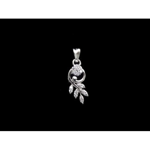 Silver Tone Leaf Design Pendant With White CZ Stones