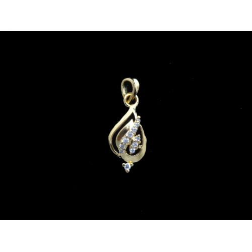 18K Gold Plated Cute Designer Pendant With White CZ Stones