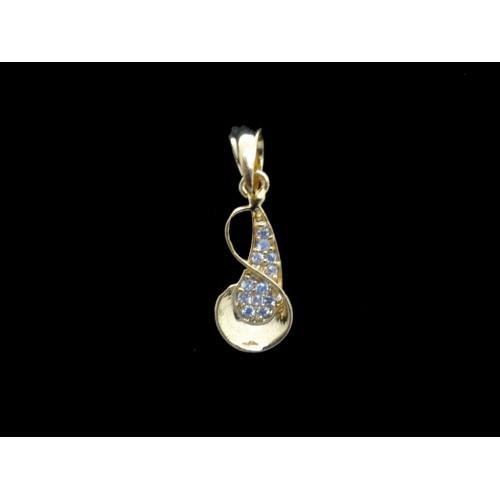18K Gold Plated Unique Design Pendant With White CZ Stones