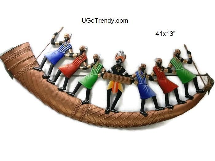 Dancing Tribals In a Boat Wall hanging metal art