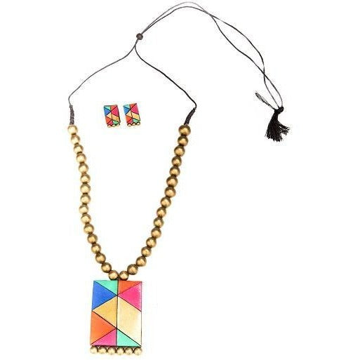Unique Handmade Terracotta Necklace Set with Appealing Geometrical Design