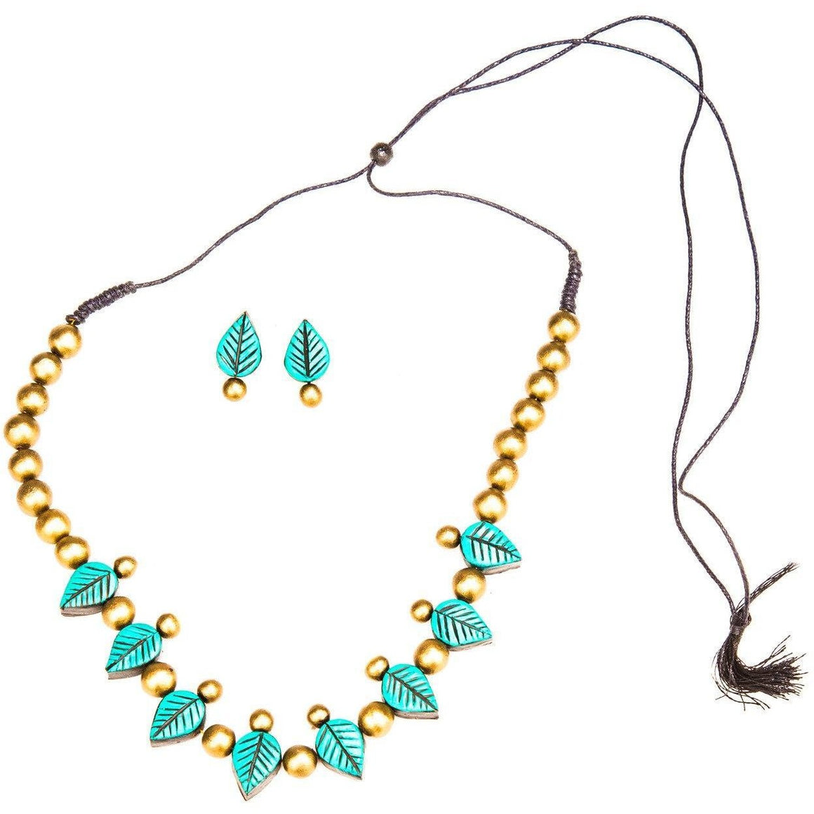 Beautiful Handmade Terracotta Necklace Set Leaf Design Blue and Gold combination