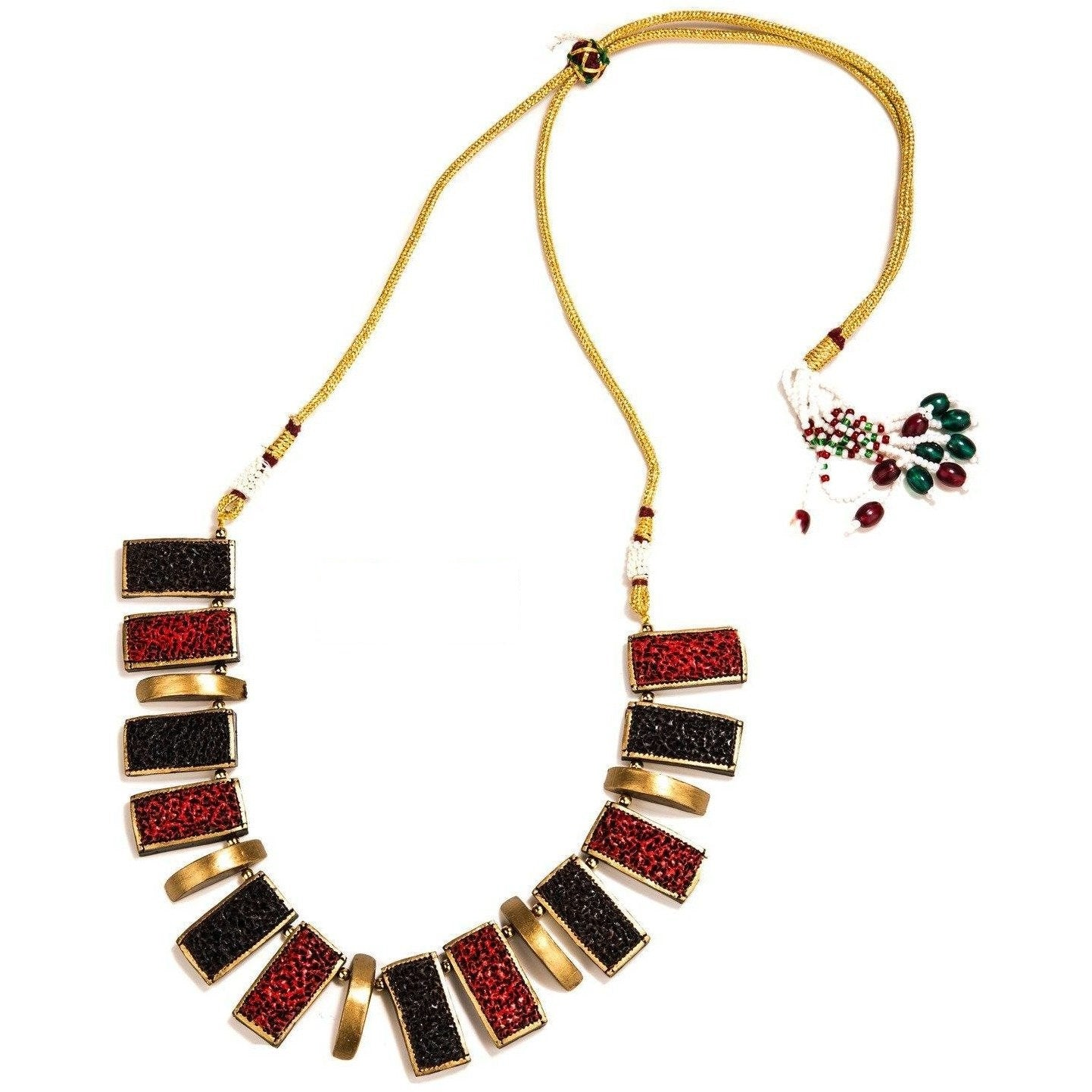 Elegant Terracotta Necklace Set With Earrings Red and Gold combination