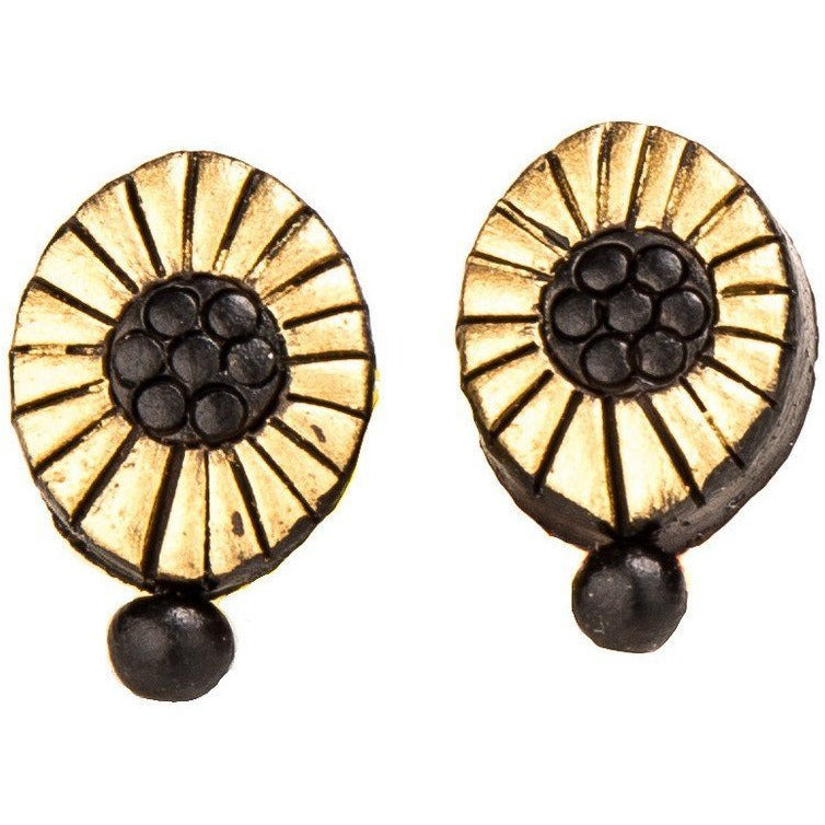 Handmade Elegant Oval Shaped Terracotta Studs in Gold and Black Combination with Drop