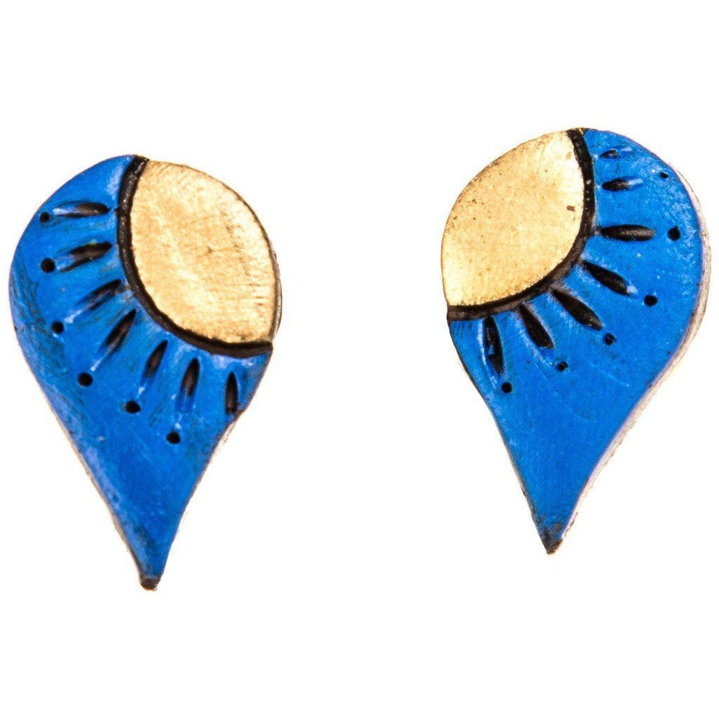 Handmade Unique Terracotta Earrings in Blue and Gold combination