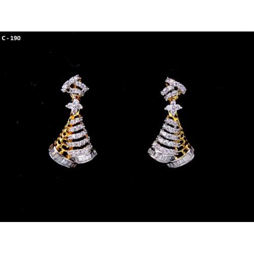 18K Gold Plated Beautiful White CZ Stones Jhumka Style Drops