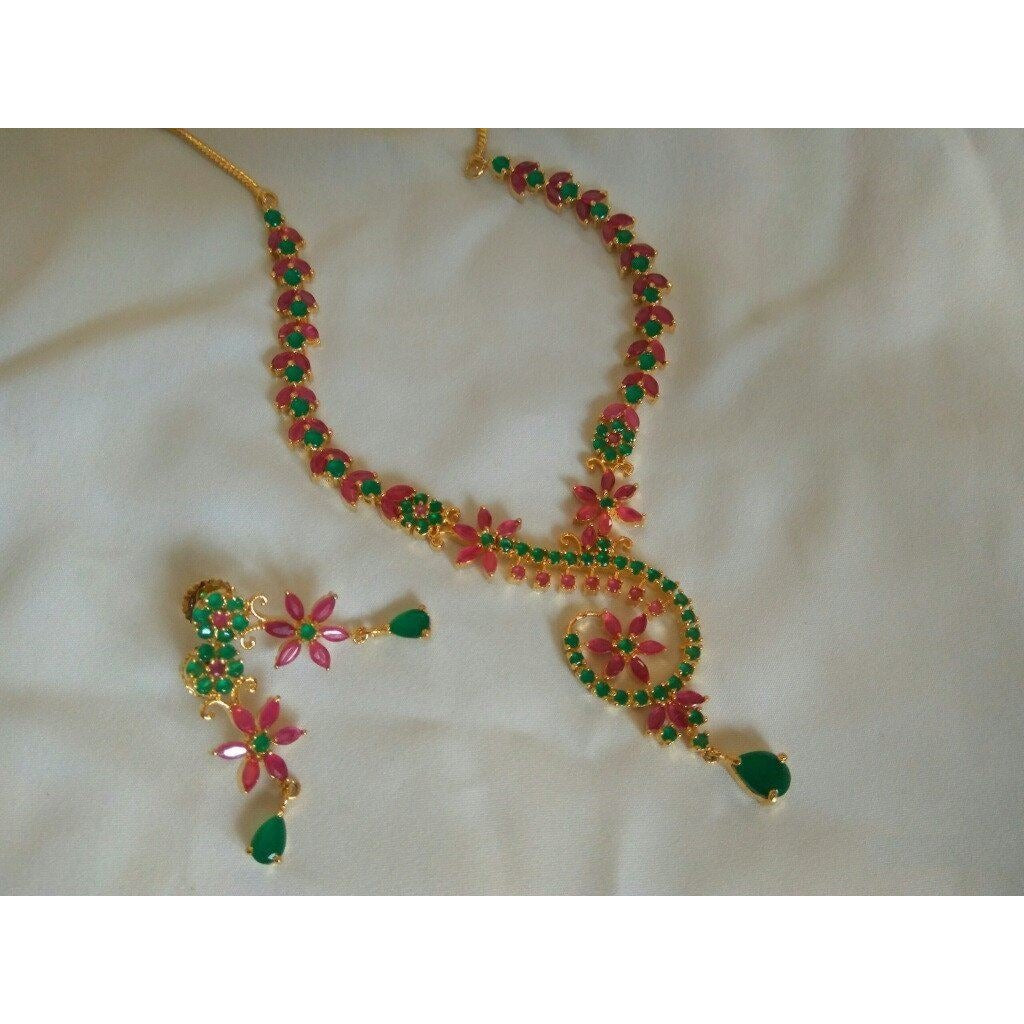 Beautiful Flower design Pink and green Designer necklace set