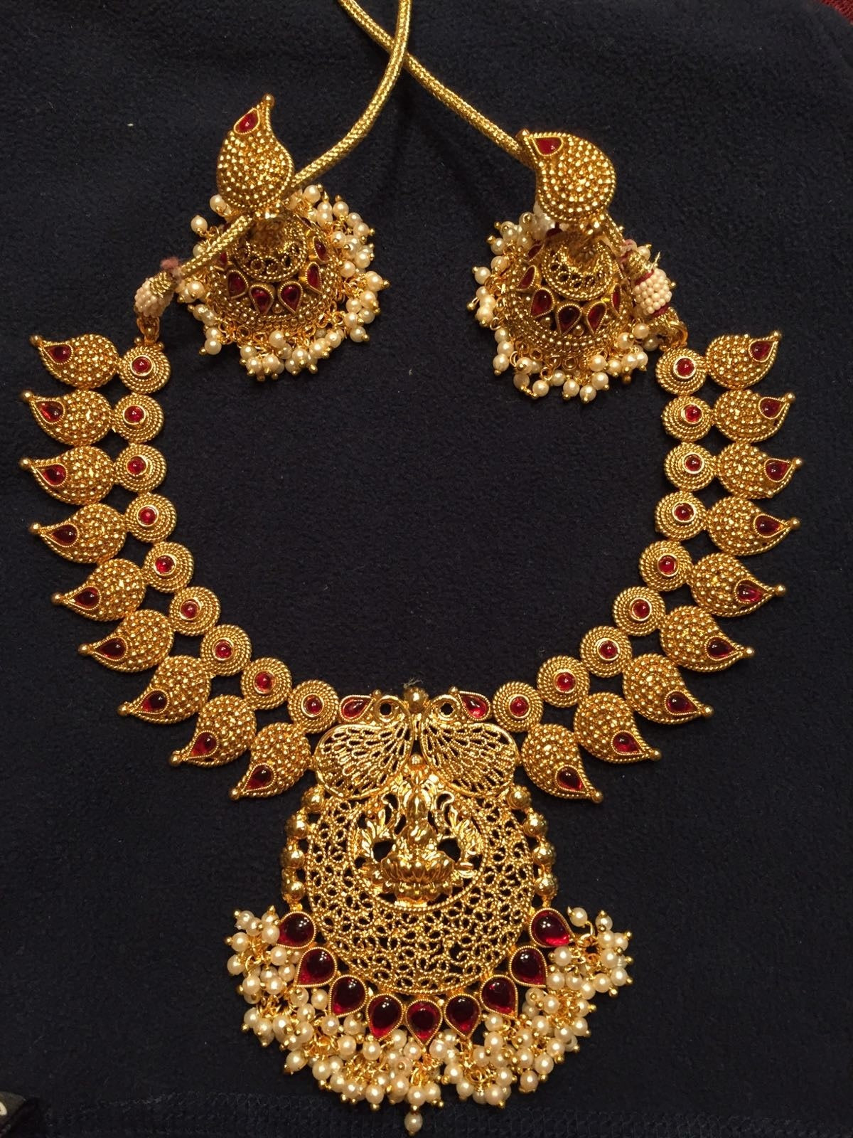 Big Traditional Necklace beautiful Pendant and Jhumka with Gungru