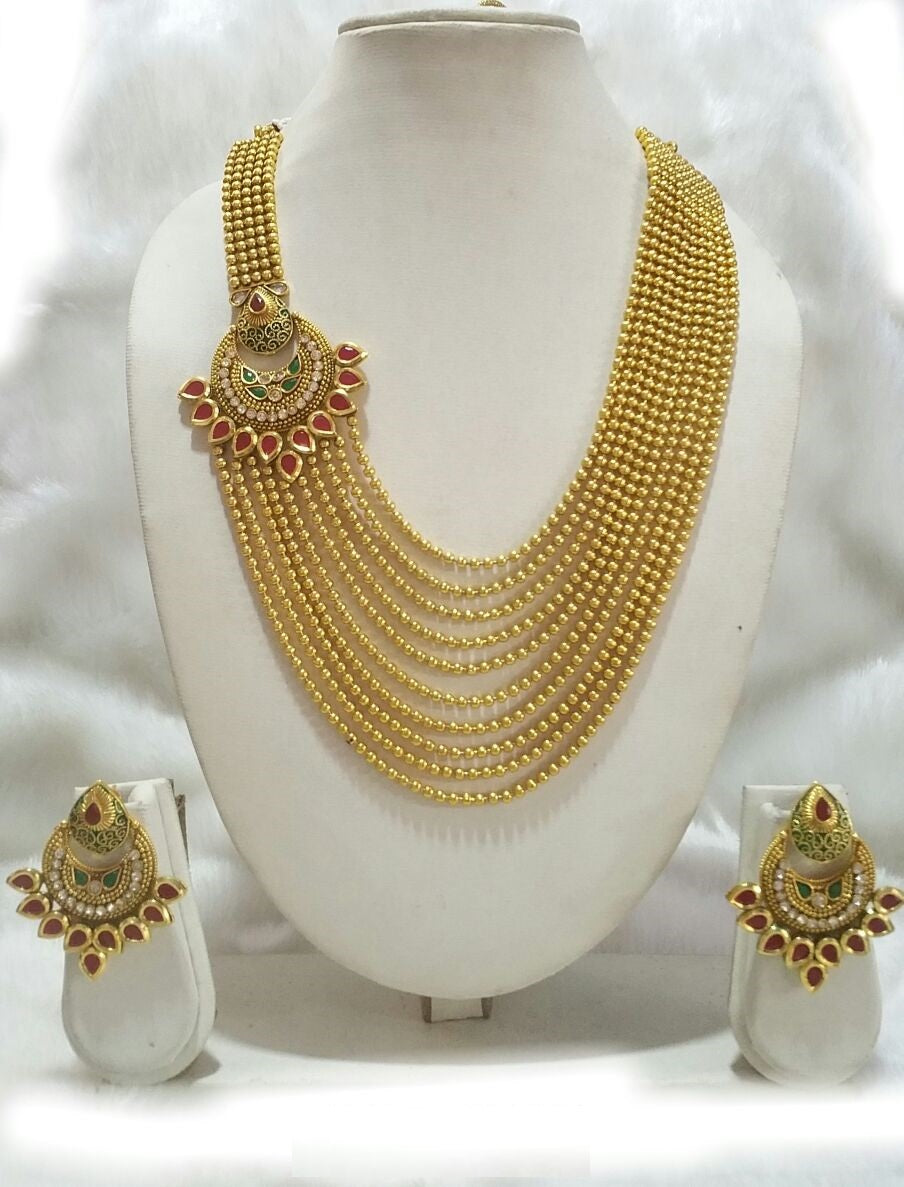 (RESERVED) Multi Layer Necklace Set with Chandbali Earrings