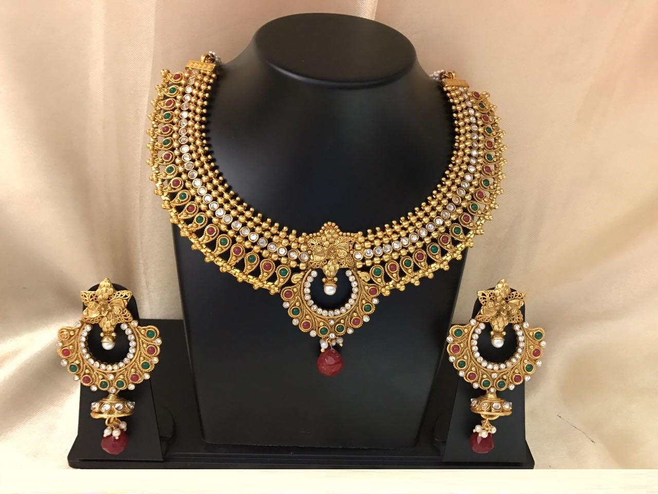 Beautiful Necklace with Chandbali Pendant and Earrings