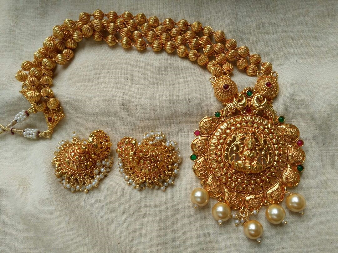 Two String Golden Beads Temple Jewelry Long Necklace Set Lakshmi Pendant with Pearls