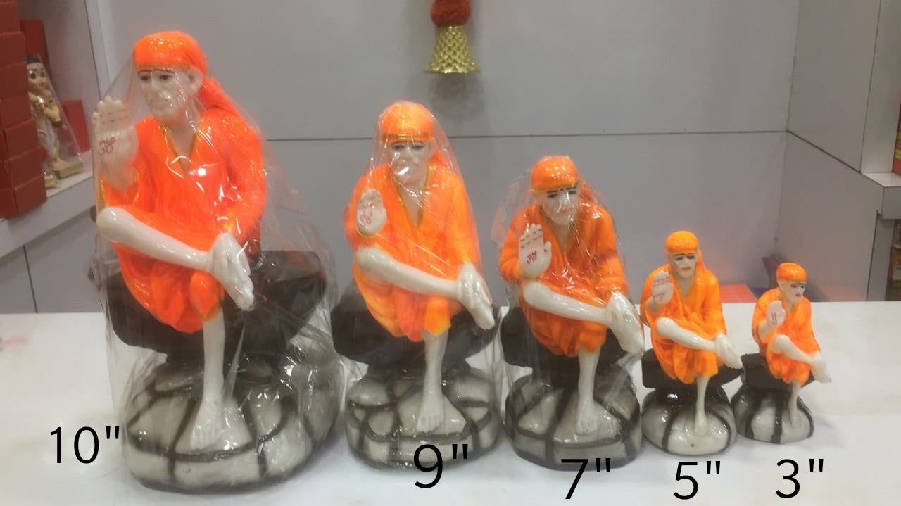 Pre-Order : Shirdi Sai Baba Statue Marble Dust Ceramic Finish Divine Idol White and Orange Clad
