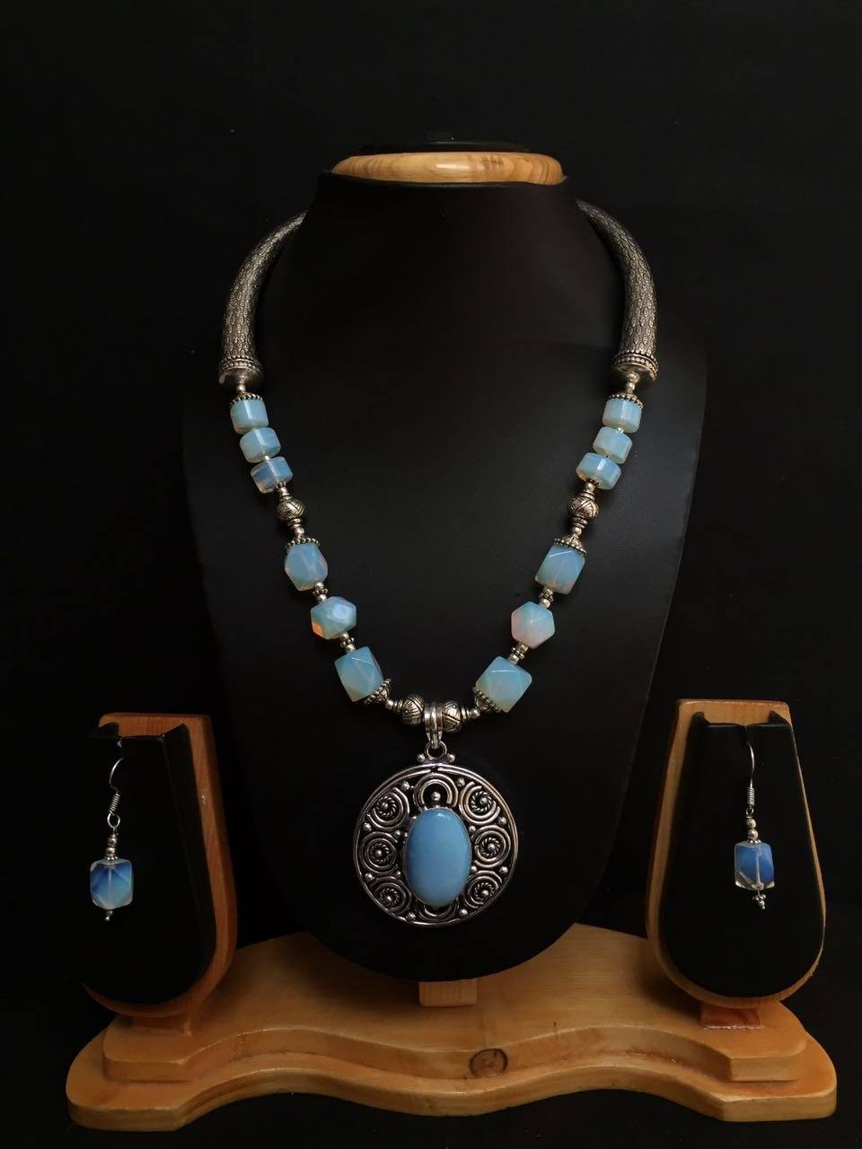 Handmade German Silver Coral Turquoise Necklace With Dangler Earrings