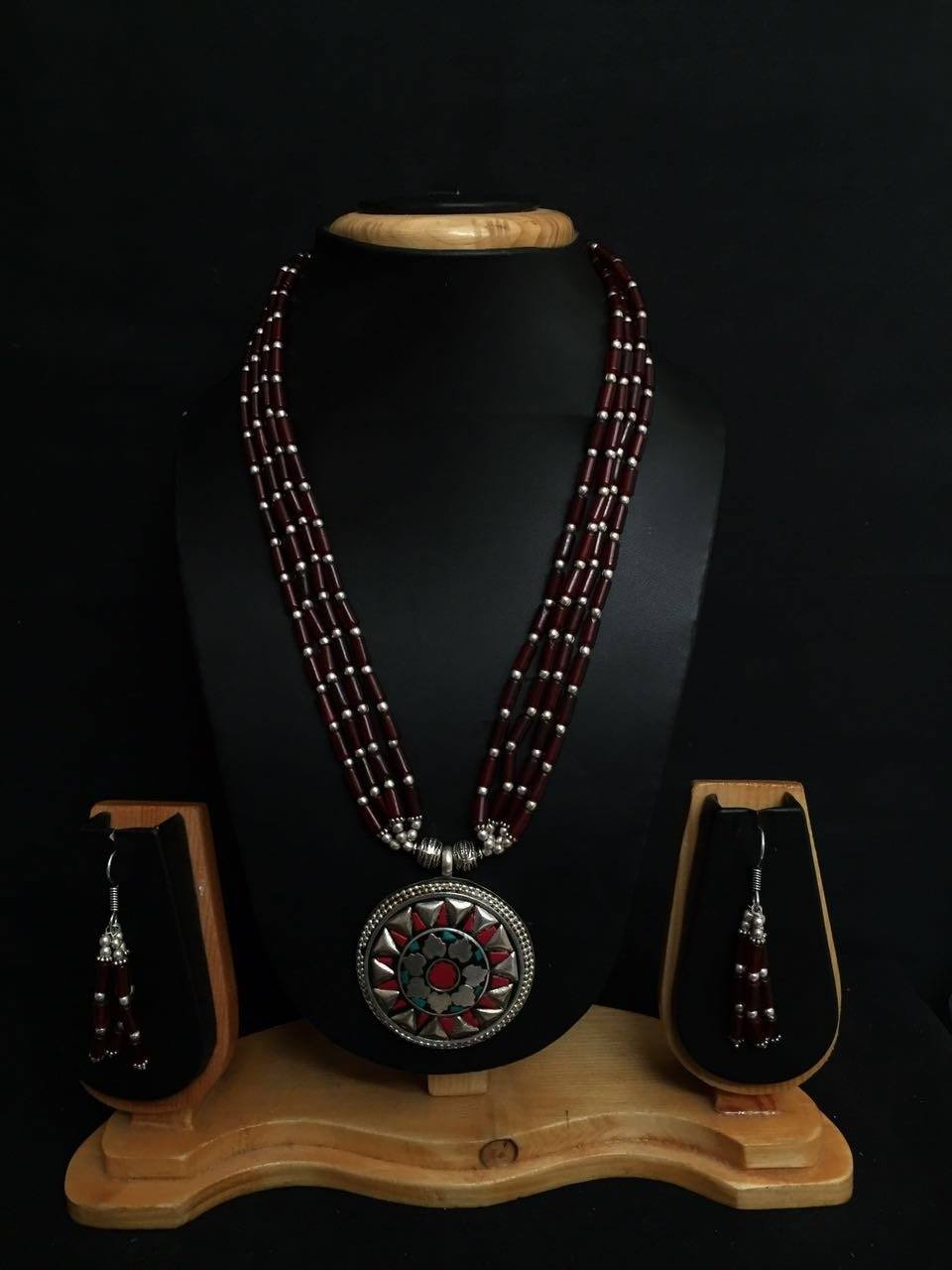 Necklace set with Nepalian Beads and German Silver pendant with coral and Turquoise beads and dangler earrings