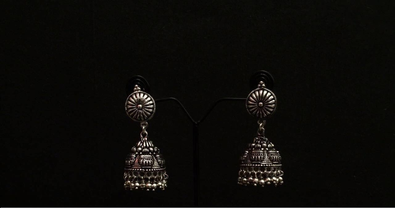 Handmade German Silver Jhumka Earrings