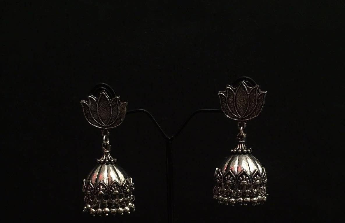 [RESERVED] Handmade German Silver Jhumka Earrings
