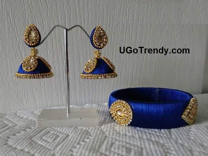 Handmade Beautiful Silk thread Bangle and matching Jhumka decorated with rhinestones