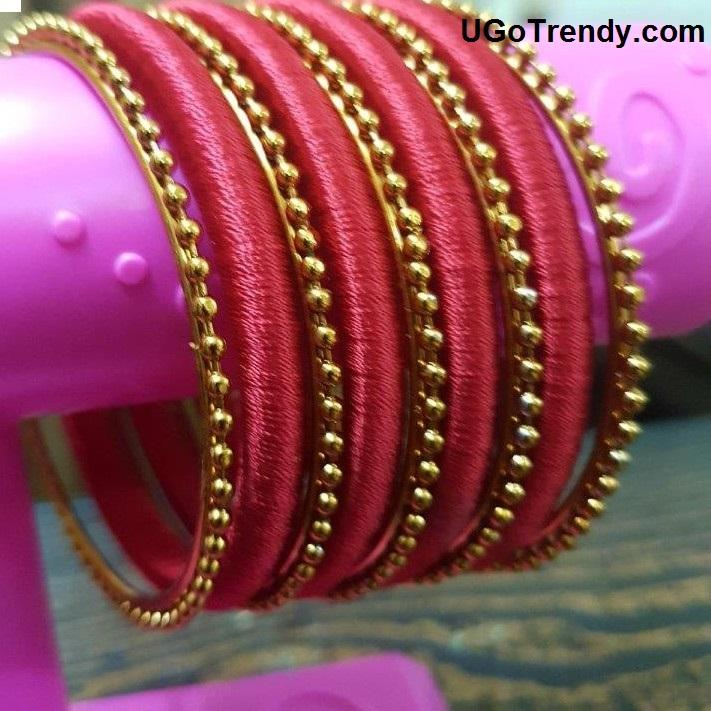 Handmade Beautiful Silk thread Bangles set with golden bangles